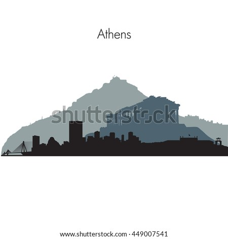 Detailed vector skyline of Athens with famous monuments - stock vector