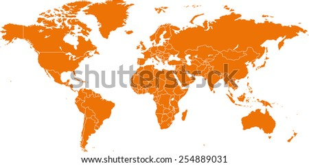Detailed vector World map - stock vector