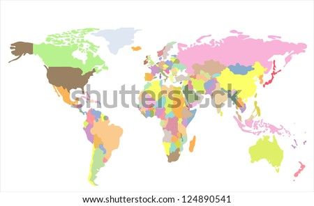 Detailed vector World map of rainbow colors.