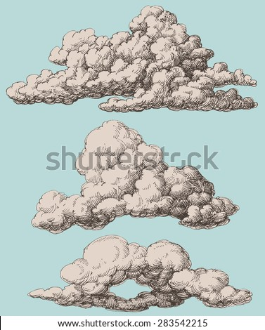 Detailed vintage style clouds vector set - stock vector