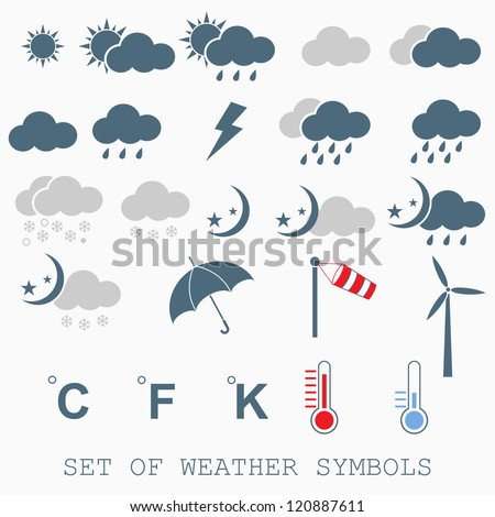 detailed weather icons - stock vector