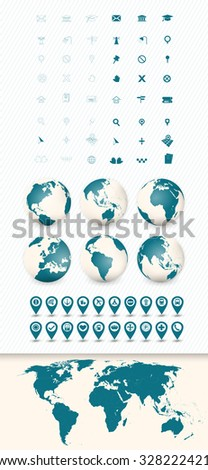 Detailed World Map and Navigation Icon Set with Globes. - stock vector