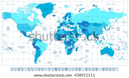 Colored political world map isolated on stock vector 438915655 detailed world map in colors of blue and 3d square pin icons all elements are gumiabroncs Images