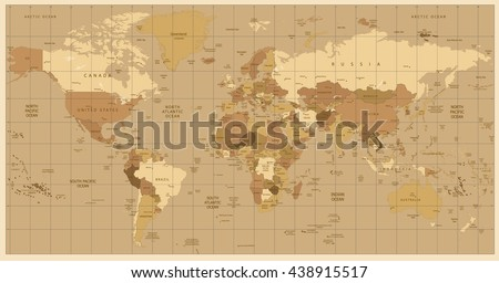Detailed world map colors brown all stock vector 438915517 detailed world map in colors of brown all elements are separated in editable layers clearly gumiabroncs Image collections