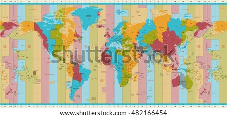 Detailed world map standard time zones stock vector 482166454 detailed world map standard time zones publicscrutiny Images