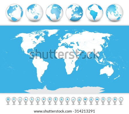Detailed World Map with a 3D globes and bubble navigation icons. - stock vector