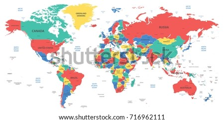 Detailed world map borders countries cities stock vector 716962111 detailed world map with borders countries and cities gumiabroncs Images