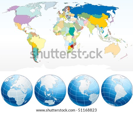 Detailed World Map with Countries,  political map with individual drawn objects, separated country and national borders,  asia,africa,america,australia,europe etc-vector,easy editable colors - stock vector