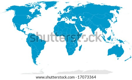Detailed world map with country borders - stock vector