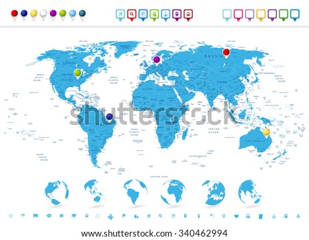 Detailed world map globe icons navigation vectores en stock detailed world map with globe icons and navigation symbols gumiabroncs Gallery