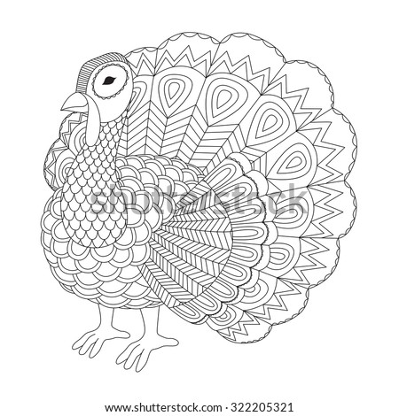 Detailed zentangle turkey for coloring page for adult - stock vector