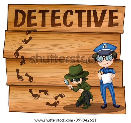 Detective and policeman working together illustration - stock vector