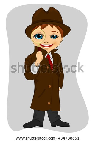 Detective boy looking through magnifying glass - stock vector