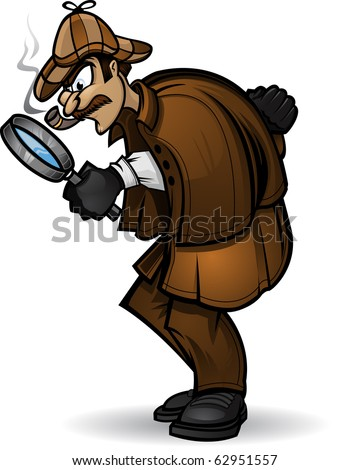 Detective Illustration of a Detective looking through his magnifying glass. Divided into layers for easy editing. - stock vector