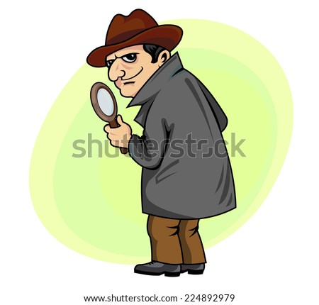 Detective man with magnifying glass in cartoon style - stock vector