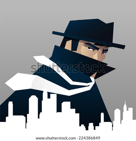 Detective Private investigator Spying over the city  - stock vector