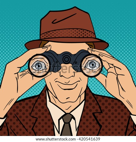 Detective with Binoculars. Man in Hat Spying for Somebody. Vintage Detective. Pop Art. Comic Style. Vector illustration - stock vector