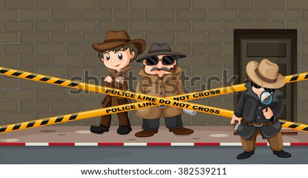 Detectives looking for clues at the crime scene illustration - stock vector