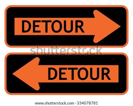 Detour Sign . Vector illustration - stock vector