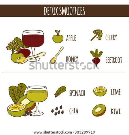 Detox smoothies recipes. Healthy lifestyle concept. Weight loss and diet recipes. Green detox smoothies beverages