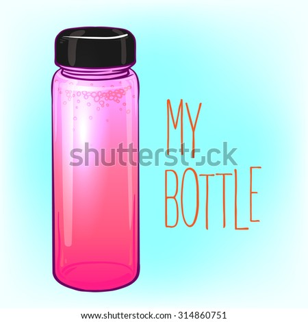 Detox Water Bottle. Pink Strawberry Smoothie. Lovely colorful vector illustration. Healthy lifestyle, raw eating, organic drinks, diet, natural detox concept. Trendy drink ware.