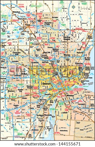 Detroit Map Stock Images Royalty Free Images Vectors Shutterstock