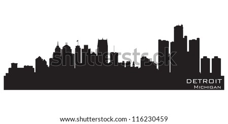 Detroit, Michigan skyline. Detailed vector silhouette