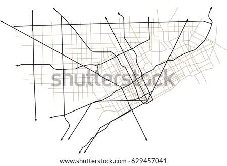 Detroit Michigan USA Street Vector Map Stock Vector (Royalty Free ...