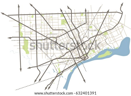 Detroit Michigan Usa Street Vector Map Stock Vector - Detroit usa map