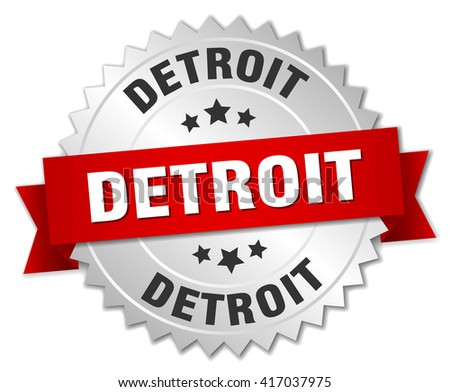 Detroit  round silver badge with red ribbon - stock vector