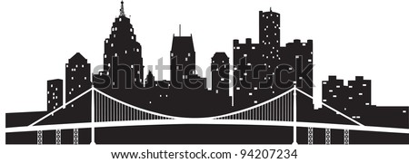 Detroit Skyline - stock vector