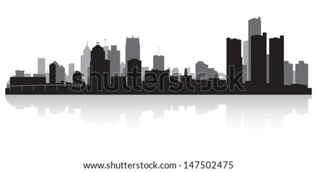 Detroit USA city skyline silhouette vector illustration