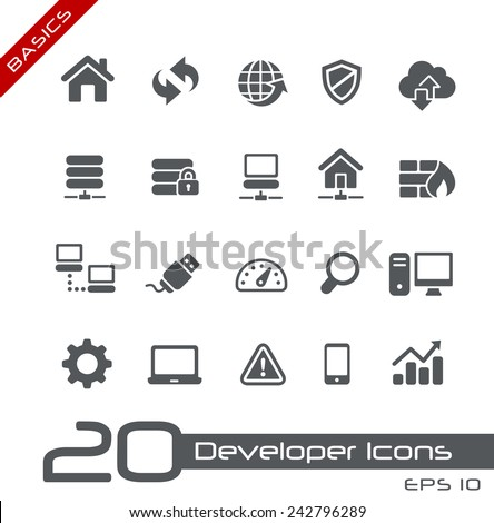 Developer Icons  // Basics - stock vector