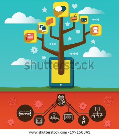 Development and programming applications for mobile devices - vector illustration - stock vector