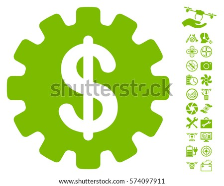 Development Cost pictograph with bonus quadrocopter service graphic icons. Vector illustration style is flat iconic symbols on white background.