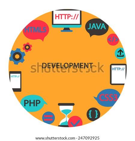 Development emblem. - stock vector