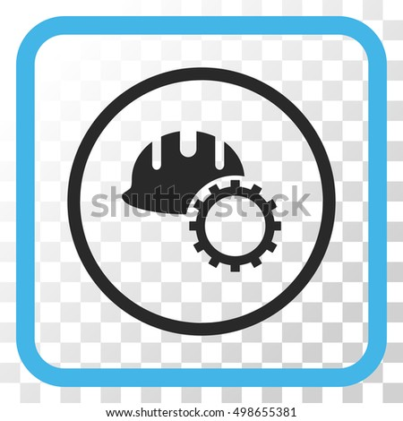 Development Hardhat blue and gray vector icon. Image style is a flat pictograph symbol in a rounded square frame on a transparent background.