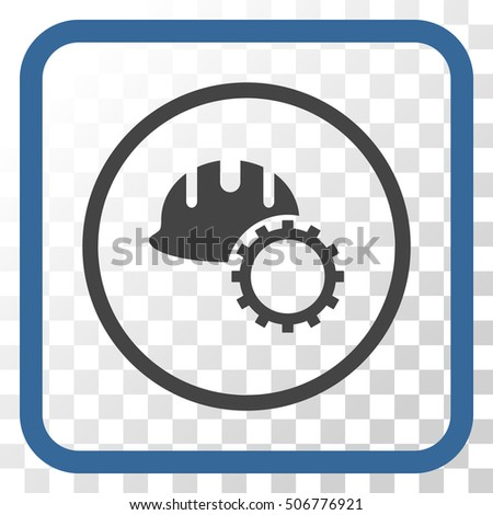 Development Hardhat cobalt and gray vector icon. Image style is a flat icon symbol in a rounded square frame on a transparent background.
