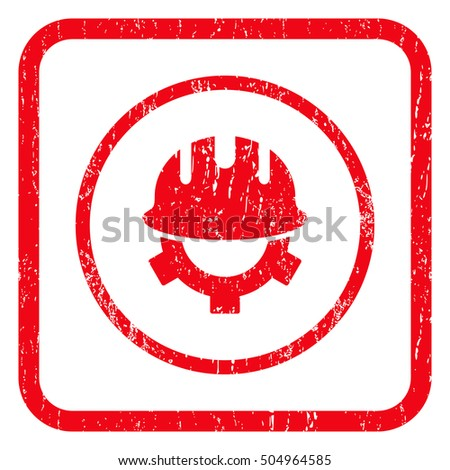 Development Helmet rubber seal stamp watermark. Icon symbol inside rounded rectangular frame with grunge design and dust texture. Unclean vector red ink emblem on a white background.