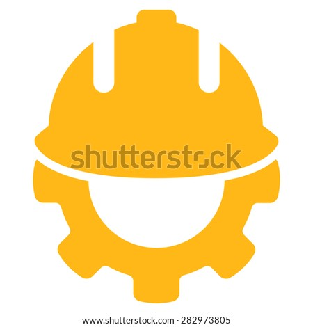 Development icon. Style: flat symbol, yellow color, rounded angles, white background. - stock vector