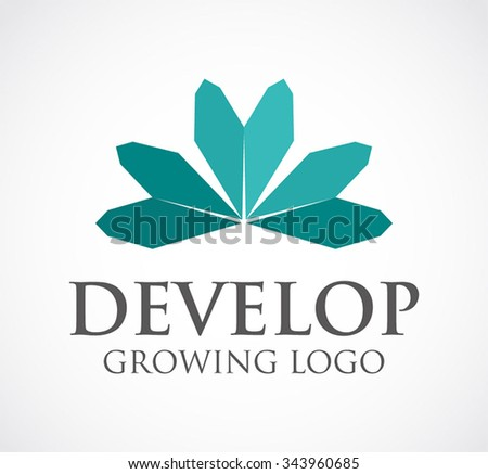 Development of growing leaf abstract vector and logo design or template simple paper business icon of company identity symbol concept - stock vector