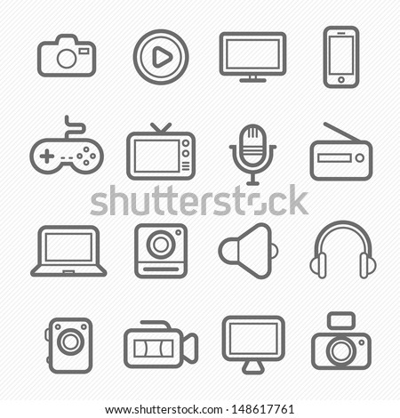 device and multimedia symbol line icon on white background vector illustration - stock vector