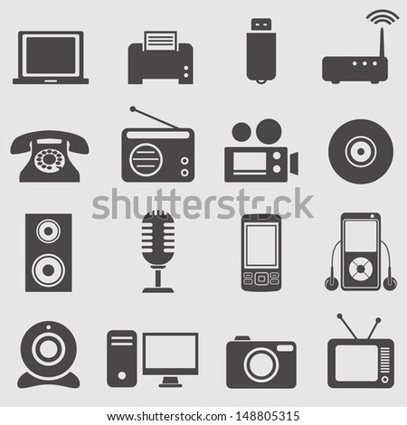 Device icons set.Vector  - stock vector