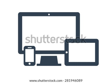 Device Icons: smart phone, tablet and desktop computer. Vector illustration of responsive web design. - stock vector