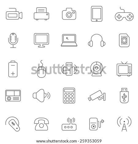 Device line icons set.Vector - stock vector