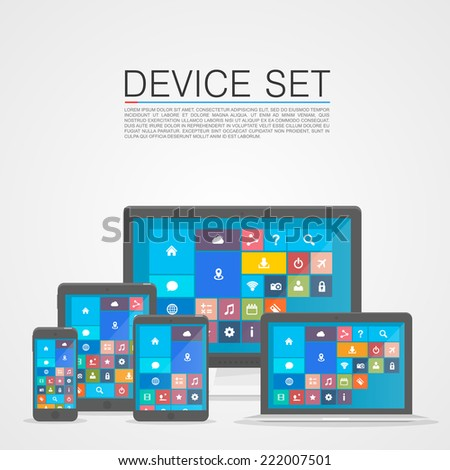 Device Set flat. Vector illustration - stock vector