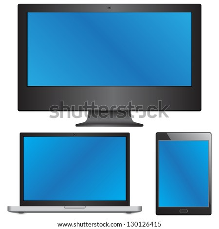 Device Sets of Laptop, Computer and Tablet Vector Illustration, EPS 10. - stock vector