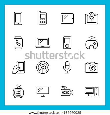 Devices and technology vector icons set, thin line style - stock vector