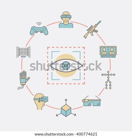Devices for virtual reality (VR). Immersive multimedia or computer-simulated reality. AR glasses and head-mounted display. Linear icons set. Vector illustration. - stock vector