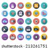 Devices icons, whit long shadow. Vector illustration. - stock vector